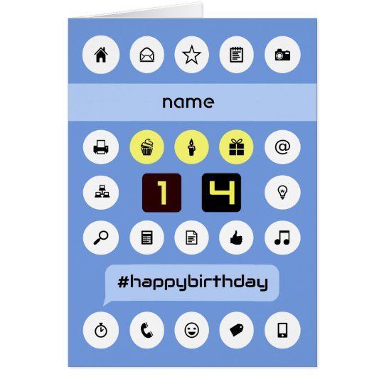 14th birthday add name computing personalised card