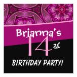 14th Birthday Big Bold Pink Flower Star Pattern 13 Cm X 13 Cm Square Invitation Card