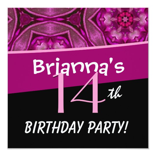 14th Birthday Big Bold Pink Flower Star Pattern Card