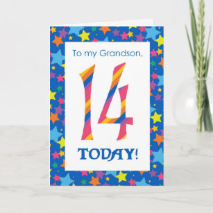 14th Birthday Card For Grandson Stripes And Stars