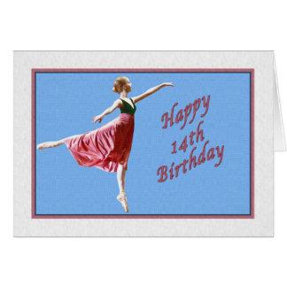 14th Birthday Card with Ballerina on Blue
