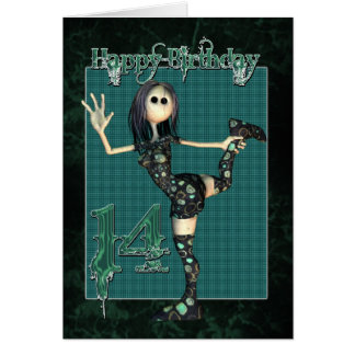 14th Birthday card with Moonies H.I.P Rag Doll