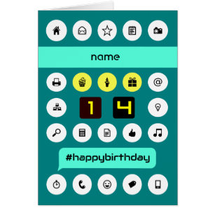 14 year old cards invitations zazzle 14th birthday computing icons add name card bookmarktalkfo Image collections
