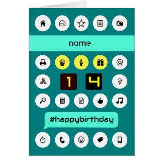 14th birthday computing icons add name card