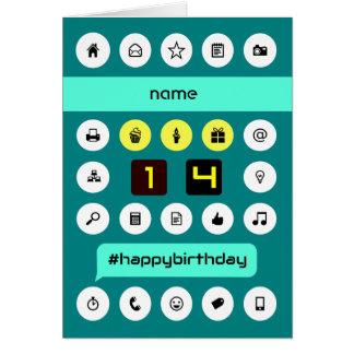 14th birthday computing icons add name greeting card