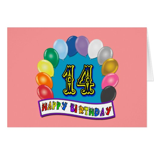 14th Birthday Gifts With Assorted Balloons Design