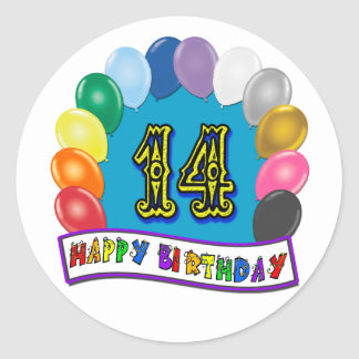 14th Birthday Gifts with Assorted Balloons Design Round Sticker