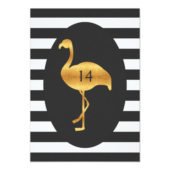 14th Birthday Gold Flamingo Black White Stripes Card