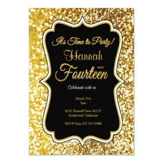 14th birthday invitation in black and gold