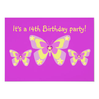 14th Birthday Party Invitation, Butterflies 13 Cm X 18 Cm Invitation Card