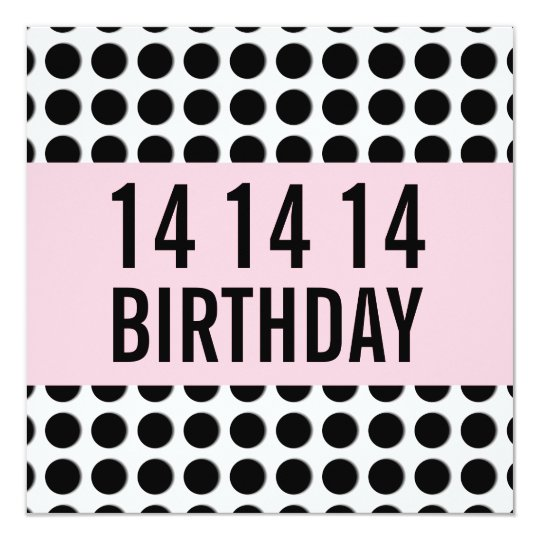 14th Birthday Party Template Polka Dots A14A