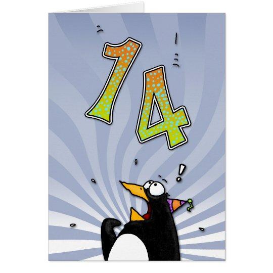 14th Birthday - Penguin Surprise Card