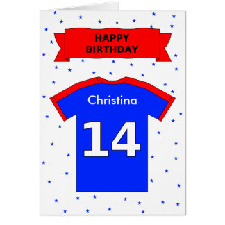 Fourteenth birthday cards invitations zazzle 14th birthday personalized sports shirt card bookmarktalkfo Image collections
