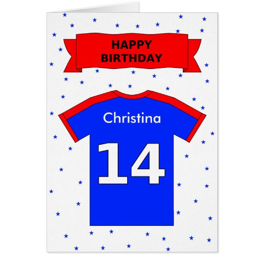 14th birthday personalized sports shirt card