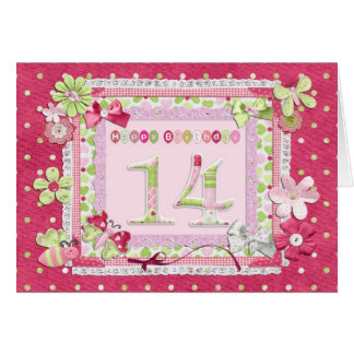 14th birthday scrapbooking style greeting card