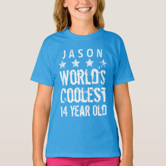 14th Birthday World's Coolest 14 Year Old Teal Z14 Shirt