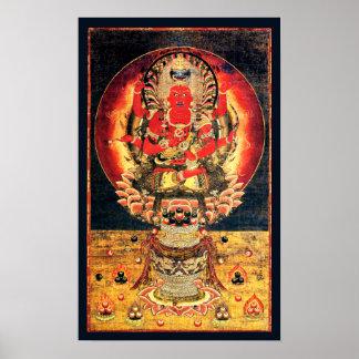 14th century Buddhist Aizen Myoo Painting Poster