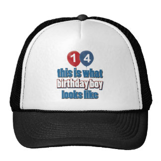 14th year birthday designs hats