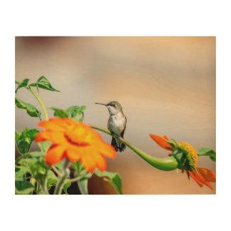 14x11 Hummingbird on a flowering plant Wood Wall Art