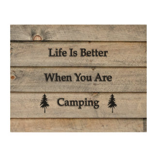 14x11 Life is better when you are camping Wood Wall Art