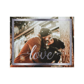 14x11 Love Typography with Silver Frame Canvas Print