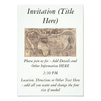 1507 Martin Waldseemuller World Map 11 Cm X 16 Cm Invitation Card