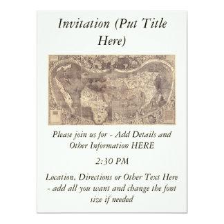 1507 Martin Waldseemuller World Map 17 Cm X 22 Cm Invitation Card