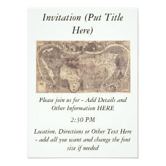 1507 Martin Waldseemuller World Map 14 Cm X 19 Cm Invitation Card