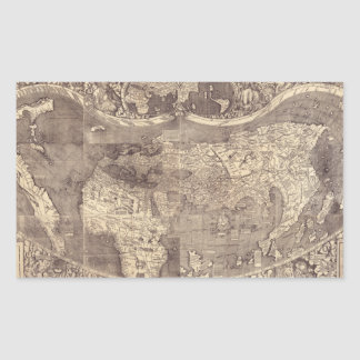 1507 Martin Waldseemuller World Map Rectangular Sticker