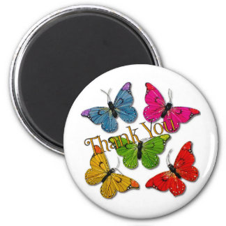 15418 colourful butterflies thank you 6 cm round magnet