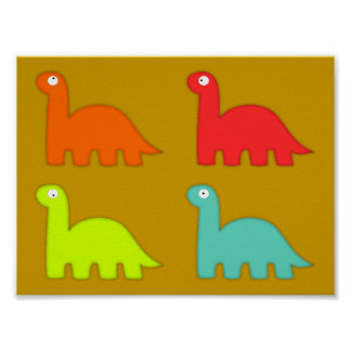 15562-dino-icons-vector ORANGE RED YELLOW BLUE DIN Poster