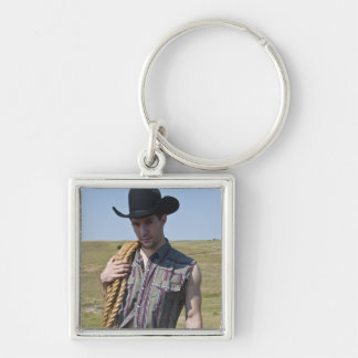 15599-RA Cowboy Silver-Colored Square Key Ring