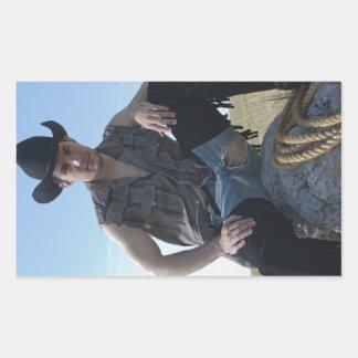 15631-RA Cowboy Rectangular Sticker