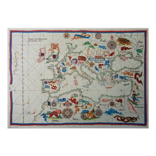 1563 Renaissance Map Europe Poster