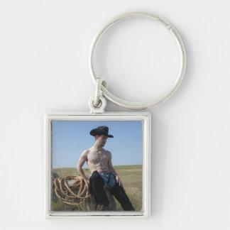 15693-RA Cowboy Silver-Colored Square Key Ring