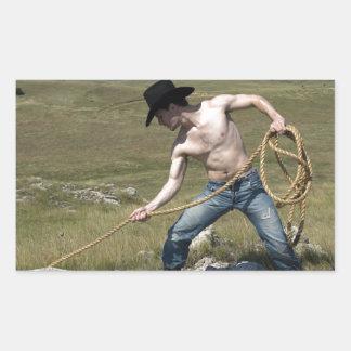 15807-RA Cowboy Rectangular Sticker