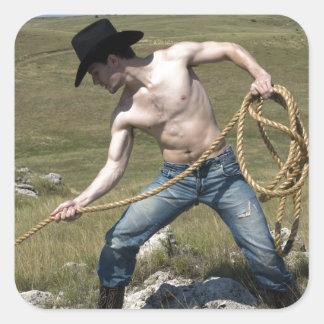 15807-RA Cowboy Square Sticker