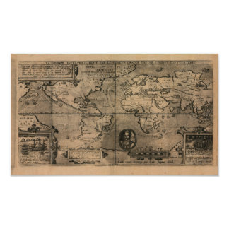 1581 Antique World Map by Nicola van Sype Poster