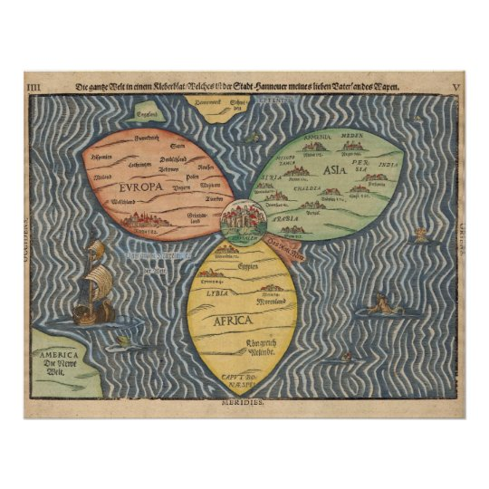 1581 World Map Poster