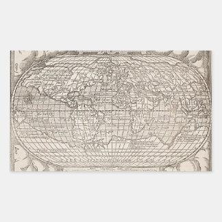1582, World Map, Antique Map Rectangular Sticker
