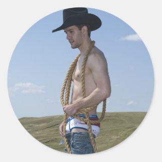 15876-RA Cowboy Round Sticker