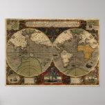 1595 Vintage World Map by Jodocus Hondius