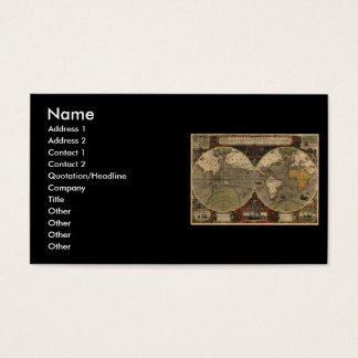 1595 Vintage World Map by Jodocus Hondius Business Card