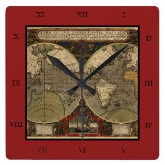 1595 Vintage World Map by Jodocus Hondius Clocks