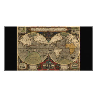 1595 Vintage World Map by Jodocus Hondius Customized Photo Card