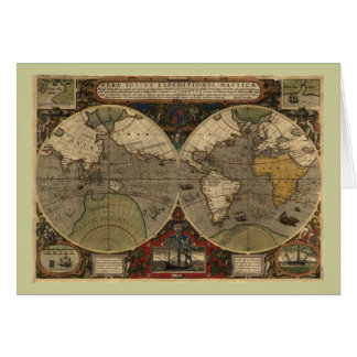 1595 Vintage World Map by Jodocus Hondius Greeting Card