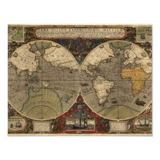 1595 Vintage World Map by Jodocus Hondius 11 Cm X 14 Cm Invitation Card