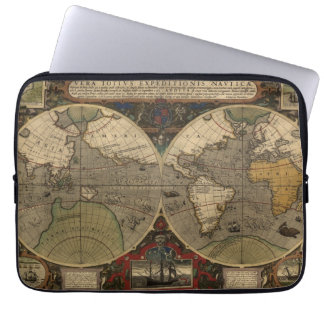 1595 Vintage World Map by Jodocus Hondius Laptop Sleeve