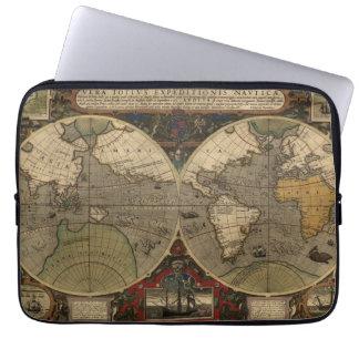 1595 Vintage World Map by Jodocus Hondius Laptop Sleeve