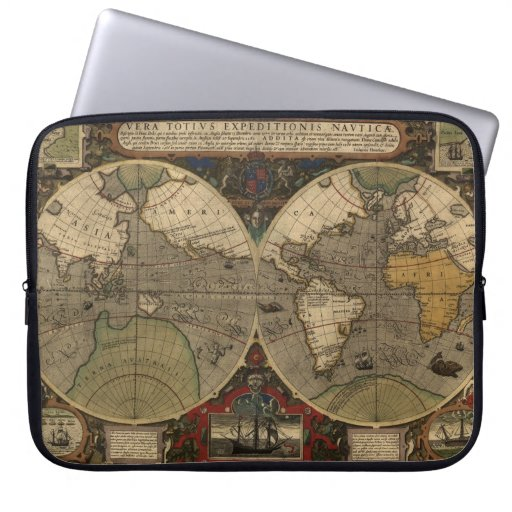 1595 Vintage World Map by Jodocus Hondius Laptop Computer Sleeve
